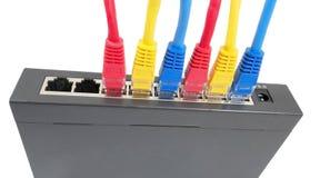Cabos da rede conectados ao roteador Imagem de Stock Royalty Free