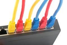 Cabos da rede conectados ao roteador Fotos de Stock Royalty Free