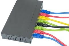 Cabos da rede conectados ao roteador Fotografia de Stock