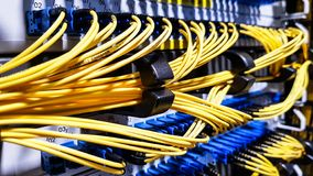 Cabos de fibra ótica de alta velocidade coloridos conectados aos servidores de rede da nuvem imagens de stock