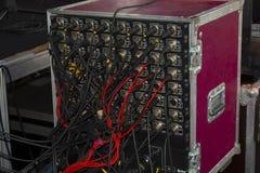 Cabos digitais audio de XLR no painel traseiro do VCR profissional imagem de stock royalty free