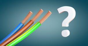 Cabos distribuidores de corrente ou fonte de alimentação descascada nas cores padrão ao lado de um ponto de interrogação fotos de stock
