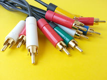 Cabos do Rca para transferência audio-vídeo-dados Fotografia de Stock Royalty Free