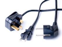 Cabos elétricos pretos Fotografia de Stock Royalty Free