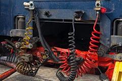 Cabos que conectam o caminhão e o reboque Fotografia de Stock Royalty Free