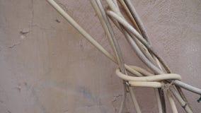 Cabos Tangled da antena da tevê fotografia de stock royalty free