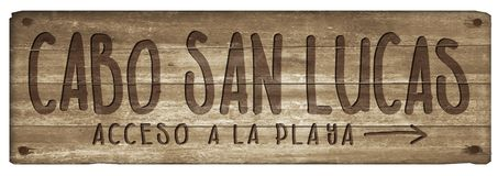 Cabosan Lucas Mexico Beach Sign Wood Wijnoogst stock illustratie