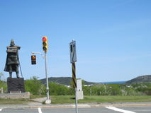 Cabot Crossing Guard. A statue of John Cabot in Saint John's at a crosswalk Stock Image