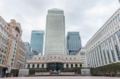 Cabot Square a Canary Wharf un giorno nuvoloso Immagine Stock Libera da Diritti