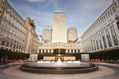 Cabot Square In London Long Exposure Stock Images