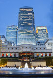 Cabot Square In London  at night, editorial Stock Photos