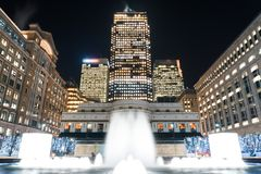 Cabot Square at night stock images