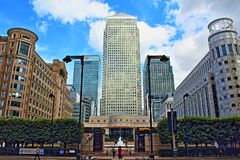 Cabot Square Canary Wharf London United Kingdom. Cabot Square is one of the central squares of the Canary Wharf Development in London`s Docklands.Canary Wharf is Royalty Free Stock Photography