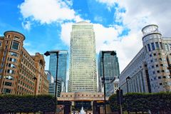 Cabot Square Canary Wharf London United Kingdom. Cabot Square is one of the central squares of the Canary Wharf Development in London`s Docklands.Canary Wharf is Royalty Free Stock Image