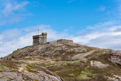 Cabot Tower no monte do sinal, ` s de St John, Terra Nova Foto de Stock Royalty Free