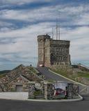 Cabot Tower på signalkullen i Newfoundland fotografering för bildbyråer