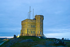 Cabot Tower on Signal Hill at night, St-John's. Cabot Tower on Signal Hill at night. St. John's, Newfoundland stock photography