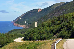 The Cabot Trail in Cape Breton. The winding highway of the world famous Cabot Trail along the coast of Cape Breton, Nova Scotia royalty free stock photography