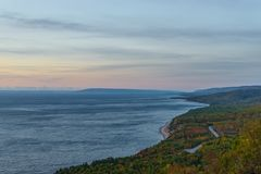 Cabot Trail scenic view at dawn Royalty Free Stock Photography