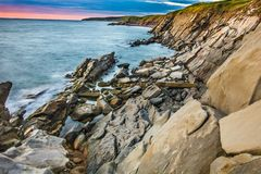 Cabot trail sunset. Sunset on out first day on the cabot trail near Cape breton national park Royalty Free Stock Photo