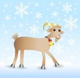 Cabra alegre em uma paisagem do inverno do fundo ilustração royalty free