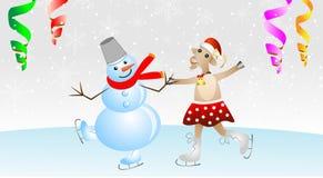 Cabra alegre em uma saia e em um homem da neve em patins Foto de Stock Royalty Free