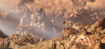 Cabra de montanha nas montanhas rochosas ilustração stock