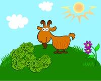 Cabra en el campo con la col ilustración del vector