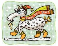 ¡Cabra en el casquillo rojo, Feliz Año Nuevo! Imágenes de archivo libres de regalías