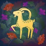 Cabra en flores ilustración del vector