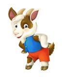 Cabra feliz e engraçada dos desenhos animados - fundo - ilustração para crianças ilustração do vetor