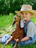 Cabra joven del bebé de la tenencia del muchacho imagenes de archivo