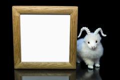 Cabra u ovejas con el marco de madera en blanco Fotos de archivo libres de regalías