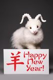 Cabra u ovejas con la tarjeta de felicitación del Año Nuevo Fotos de archivo libres de regalías