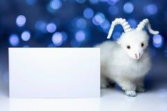 Cabra u ovejas con la tarjeta en blanco Fotografía de archivo