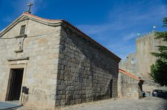 Castle and Church of Santiago, Cabral family pantheon in Belmonte. Portugal. stock images