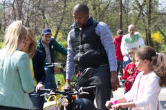 Cabral at I'Velo Bike Day. Cabral is a famous romanian tv presenter. Here is at I'Velo Bike Day, most important bike event in Romania Stock Image