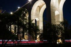 Cabrillo Bridge Arches and Car Trails in Balboa Park Stock Photos