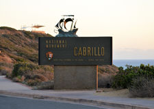 Cabrillo National Monument California Historic Landmark. A sign for Cabrillo National Monument shortly before sunset. Cabrillo is at the southern tip of the royalty free stock images