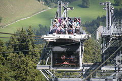 Cabrio double deck cable car, Stanserhorn. The first double deck cable car to Stanserhorn mountain. The cable car has an open upper deck where the visitors can royalty free stock photography