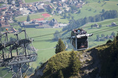 Cabrio double deck cable car, Stanserhorn. The first double deck cable car to Stanserhorn mountain. The cable car has an open upper deck where the visitors can stock image