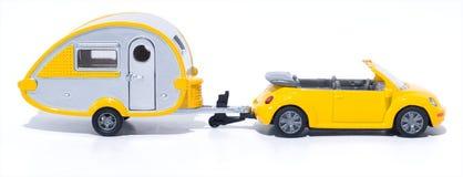 Cabrio et campeur de jouet image stock