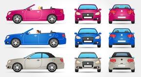Cabriolet вектора - профиль - фронт - задний взгляд Стоковые Фотографии RF