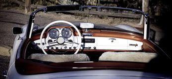 Cabriolet. Vintage car - open Cabriolet white with red Royalty Free Stock Photography