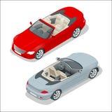 Cabriolet auto isometrische vectorillustratie Vlak 3d convertibel beeld vector illustratie