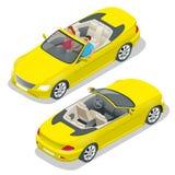Cabriolet auto isometrische vectorillustratie Vlak 3d convertibel beeld Vervoer voor de zomerreis Sportwagenvoertuig stock illustratie