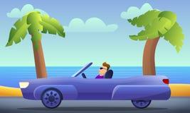 Cabriolet car driving concept background, cartoon style. Cabriolet car driving concept background. Cartoon illustration of cabriolet car driving vector concept vector illustration