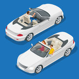 Cabriolet car isometric vector illustration. Flat 3d convertible image. Transport for summer travel. Sports car vehicle. Cabriolet car isometric vector Royalty Free Stock Photos