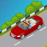 Cabriolet car isometric vector illustration. Flat 3d convertible image. Transport for summer travel. Sports car vehicle. Royalty Free Stock Images