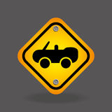 Cabriolet car yellow road street sign Stock Photography
